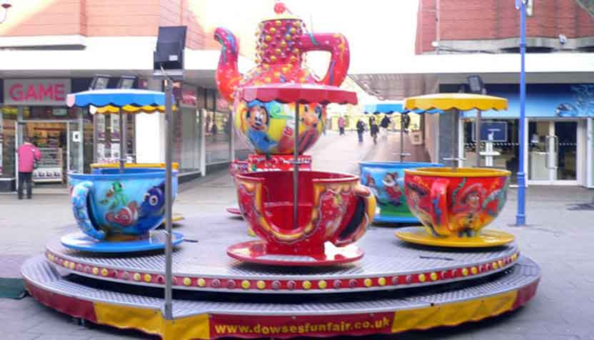Tea cups kids ride available for hire.